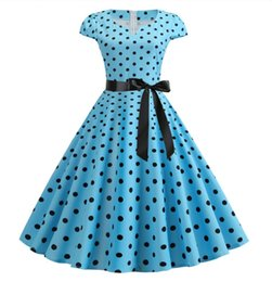 $enCountryForm.capitalKeyWord NZ - 2019 new summer European and American style fashion casual large size big pen print polka dot dress send ribbon 4 colors