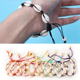 $enCountryForm.capitalKeyWord NZ - New Fashion Summer Natural Seashell Charms Womes Mens Jewelry Colorful Rope Handemade Bracelet for Beach Travling
