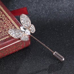 Butterfly lapel pins online shopping - Korean Butterfly Insect Lady Brooch Zircon Crystal Suit Coat Lapel Pin Collar Long Needle Sweater Shawl Cardigan Women Jewelry
