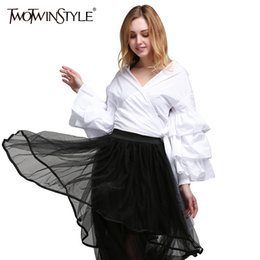 long sleeve ruffled lace blouse 2019 - TWOTWINSTYLE Ruffle Shirt Tops Female V Neck Lace up Long Sleeves White Kimono Blouse Women Casual Clothes 2019 Spring N
