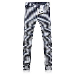 High Quality White Striped Pants men Size 29-38 Fashion Casual mens Trousers Slim fit men dress pant