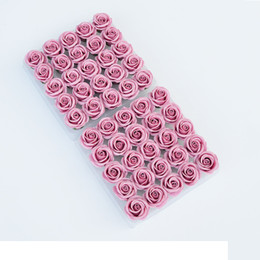 flower gift boxes wholesale NZ - 50PCS Box 5CM Rose Soap Flower Head Wedding Valentine's Day Gift New Year Gift DIY Artificial Flowers Home Decor C18112601