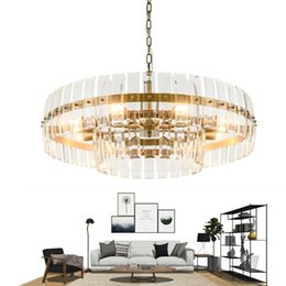 lights design cristal 2019 - New modern chandelier lighting for living room round 2 layers crystal light fixtures creative design led cristal lustre