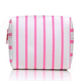 Wholesale Pvc Zipper Bag Australia - Cosmetic Pouch Practical Zipper PVC Travel Storage Toiletry Waterproof Square Shape Striped Pattern Makeup Bag Organizer