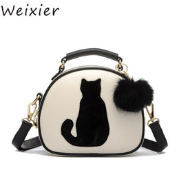 $enCountryForm.capitalKeyWord UK - WEIXIER 2019 Women Shoulder Bags Crossbody Bag For Women Handbag PU Leather Full Moon Candy Color Cute Cat With Fur Ball LY-53