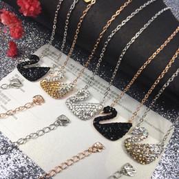 Necklaces Pendants Australia - 925 Sterling Silver Chain Necklace Short Necklace Elegant Swan Pendant Clavicle Chain Crystal Diamond Zircon Statement Necklaces Women Gift