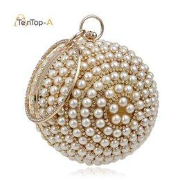 $enCountryForm.capitalKeyWord Australia - Drop Shipping Women's Round Ball Pearl Beaded Bag Diamond Tellurion Evening Bag Bridal Wedding Wrist Clutches Purse YM1060 #88617
