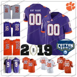 d62e786e5 Custom NCAA Clemson Tigers 2019 Champions 8 Justyn Ross 5 Tee Higgins 20  Brian Dawkins 16 Lawrence 9 Etienne Jr. Cotton Bowl Football Jersey