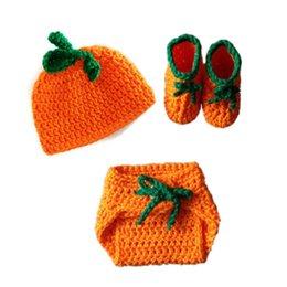 Crochet Handmade Knit Baby Booties NZ - Adorable Newborn Pumpkin Costume,Handmade Knit Crochet Baby Boy Girl Pumpkin Hat Diaper Cover Booties Set,Infant Halloween Photo Prop