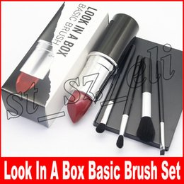 Discount big makeup sets - M Makeup Look In A box Basic Brush with Big Lipstick Shape Holder makeup brush set 4pcs set