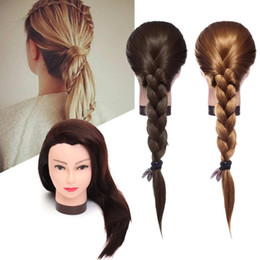 Gold straiGht hair online shopping - 70cm Long Straight Hair Hairdressing Training Practice Mannequin Practice Manikin Head Salon Women Hairdresser Styling Head