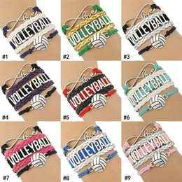 $enCountryForm.capitalKeyWord Australia - New volleyball shape charm Sport bracelets For Women Men Love Infinity handmade Braided leather rope Wrap Bangle Fashion Jewelry