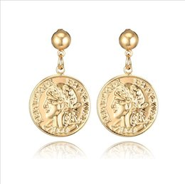 $enCountryForm.capitalKeyWord NZ - European and American retro personality coins English alphabet Earrings Face portrait alloy earrings