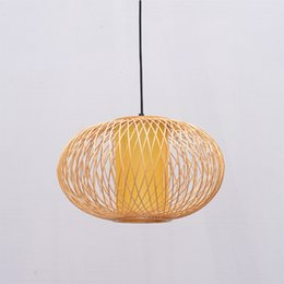 $enCountryForm.capitalKeyWord Australia - Handmade Bamboo Lamp Wicker Rattan Wave Shade Pendant Light Vintage Japanese Lamp Suspension Home Indoor Dining Table Room