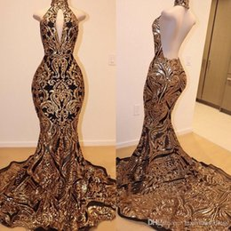 Fabulous Prom Dresses Australia - 2019 Real Photos Fabulous Sleeveless Mermaid Collar Backless Gold Prom Dresses 20K9 Gold Lace Applique Formal Gowns Evening Party Dresses