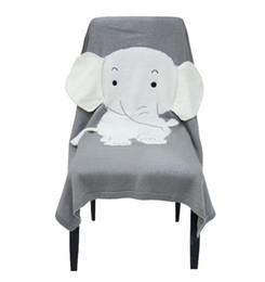 Discount kids elephant top - Baby Blankets Newborn Elephant Cartoon Top Quality Blanket Knitted Thick Warm Kids Summer Soft Blankets Bedding 70*110CM