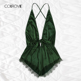 $enCountryForm.capitalKeyWord UK - Colrovie Pink Sexy Open Back Lace Teddy Pajamas Army Green Summer Wireless Satin Women Nightgowns V Neck Bow Sleepwear Y19071901