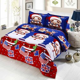 Discount cotton printed christmas bedding set Christmas Gift 3D Bedding Sets Santa Claus Christmas Decorations for Home Bedclothes Duvet Quilt Cover Bed Sheet 2 Pillo
