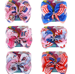 8 inch Hair Bows Barrettes European American Flags Hairpins Kids Boutique Hairclip Baby Hair Accessories For Independence Day KKA7817