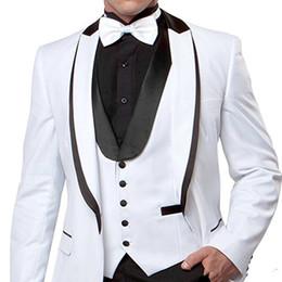 $enCountryForm.capitalKeyWord Australia - acquard Groom Tuxedos White Red Black Mens Wedding Tuxedos Velvet Lapel Side Vent Man Jacket Blazer 3 Piece Suit(Jacket+Pants+Vest+Tie)