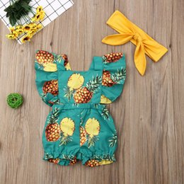 girls fruit clothes UK - Toddler Kids Baby Girl Sleeveless Romper Jumpsuit Fruit Print Ruffle Outfits Clothes Headband Summer Infant 2Pcs Set