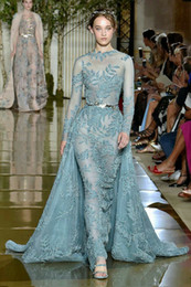 Kardashian Evening Gowns Australia - Evening dress Zuhair murad 2018 Yousef aljasm Blue Ball gown High neck With trail Long sleeve Kim kardashian Kylie Jenner Ziadnakad 027