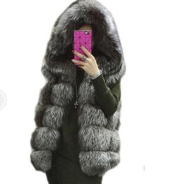MediuM long vest online shopping - Vetement winter coat Women Faux fur coat hooded vest gilet female stripe Fake fur medium long vest colete de pele Waistcoat