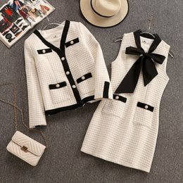 Tweed winTer coaTs online shopping - Small Fragrance Women s Tweed Set V Neck Pearls Jacket Coat Bow Scarf Vest Dress Tweed Short Dress Winter Elegant Piece Set