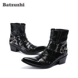 rock ankle boots NZ - Handmade Rock Men Boots Ankle Pointed Toe Black Leather Boots Men with Buckles 6.5cm Heels Military Shory Boots botas hombre, Big 38-46