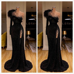 Wholesale red one piece dress photo for sale - Group buy Aso Ebi Arabic Black Sexy Sequined Evening Dresses Beaded Feather Mermaid Prom Dresses High Split Formal Party Second Reception Gowns