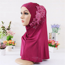 lace hijab caps Australia - Okdeals Fashion Rhinestone Flower Lace Scarf Shawl Muslim Islamic Hijab Turban Full Cover Cap Women Headscarf Hair Accessories
