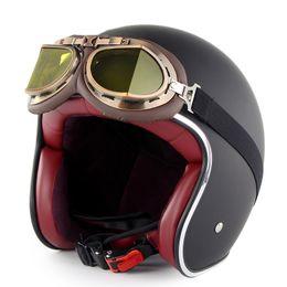 $enCountryForm.capitalKeyWord Australia - Retro Leather Motorcycle Half Helmets Vintage Motorbike Helmet with Glasses NR-shipping
