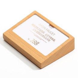 block cards UK - 7x10cm Name Card Display Block Wood Table Sign Price Tag Display Stand Acrylic Label Photo Frame Plate Slope Wood Block Frame