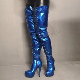 $enCountryForm.capitalKeyWord Australia - LAIGZEM SEXY Women Thigh High Boots Crotch Customize Party Club Show High Heels Zipper PUNK Black Blue Boots Botines Mujer Big Size 34-52