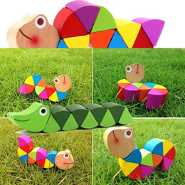 Discount toys change shape - Colorful Wooden Toys Cute Crooked Worm Design Toy Magic Multi Change Educational Tools Caterpillar Shape Children Puzzle