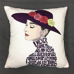 Audrey Hepburn Decor Australia - Audrey Hepburn Sketch Peacock Girl Cushion Cover Flower Soft Pillow Covers 40X40cm Modern Decorative Soft Pillow Case Chair Decor