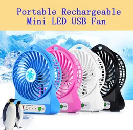 fan pc china 2019 - Wholesale Rechargeable LED Light Fan Air Cooler Mini Desk USB 18650 Battery Rechargeable Fan With Retail Package for PC