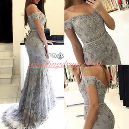Discount grey african lace - Elegant Off The Shoulder Beads Mermaid Evening Dresses Grey Lace African Prom Formal Guest Dress Pageant Celebrity Plus