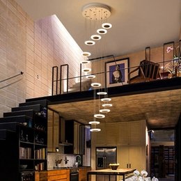 Fashion Floor light lamp online shopping - Chandelier Modern minimalist duplex floor hall fashion atmosphere Nordic living room lamp villa spiral staircase long hanging