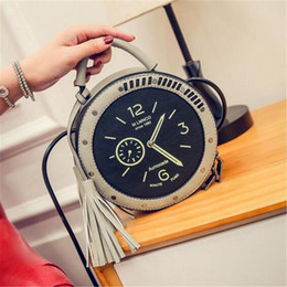 soft clock 2019 - Pu Leather Clock Pattern Shoulder Bag Circular Round Messenger Crossbody Hand Tote Bags Fashion Cute Ladies Women Handba