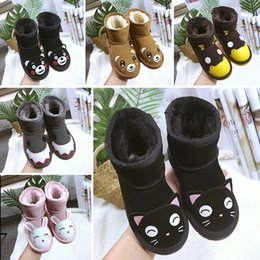 0a899210cc1 Girls Australia Style WGG Kids Snow Boots Cute Bow Back Waterproof Slip-on Children  Winter Cow Leather Boots Brand Ivg women boots