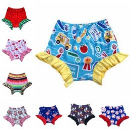 girl boxers shorts NZ - Baby Girl Bloomer Shorts 4th of July Boxers Toddle Softball Falbala PP Pants Ruffle Flamingo Diaper Covers Leopard Floral Underpant CZYQ5472