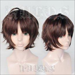 Red daRk bRown wigs online shopping - Bungo Stray Dogs Oda Sakunosuke Short Dark Red Brown Cosplay Wig