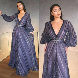 chic formal evening gown UK - 2020 Chic Evening Dresses V Neck Sequins Beaded Long Sleeves Prom Dress Belt Floor Length Custom Made Formal Party Gown