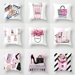 Red peRfume bottles online shopping - pillowcase The New Small perfume bottle series printing Pillowcase fashion Home Hotel car Cushion cover factory