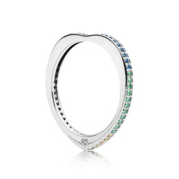 286ea4a78 Authentic 925 Sterling Silver Sparkling Arcs Love Rings Set Original Gift  Box for Pandora Rainbow CZ Diamond Luxury designer Ring