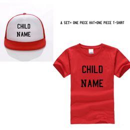 48fec602 Personal Cap+top Shirt Kids T-shirts Child Custom Trucker Hat Printed Name Children  Baby Son Daughter Baseball Cap Q190531