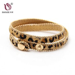 Wholesale Leopard Print Beads Australia - DANZE 2019 Fashion Leopard Print Cloth Fold Double Layer Bracelet Button Adjustable Size Gold small Bead Sexy Charm Jewelry