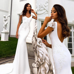 $enCountryForm.capitalKeyWord UK - Amazing Mermaid Lace Backless Wedding Dresses V Neck Cap Sleeves Custom Made Bridal Gowns Sweep Train Trumpet robe de mariée