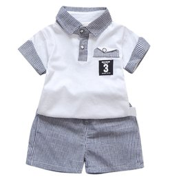 $enCountryForm.capitalKeyWord NZ - MUQGEW Children's Sets Toddler Baby Boys Gentleman Turn-down Collar Short sleeve T-shirt Tops +Stripe Shorts Outfits Clothes Set
